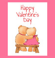 happy valentines day poster with two bears hugging vector image vector image