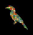 hornbill bird mosaic color silhouette animal vector image