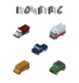 isometric car set of autobus first-aid freight vector image vector image