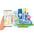 isometric town map with gps navigation mobile vector image vector image