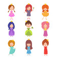 kids fashion show characters little princesses vector image vector image