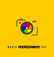 line art design camera with colorful shutter vector image vector image