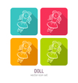 line art doll icon set in four color variations vector image vector image