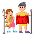 little girl helping hang laundry her mother vector image vector image