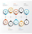 machine icons set collection of atomic cpu vector image vector image