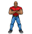 man with big muscle body posing vector image vector image