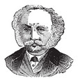mans face with mustache and tie vintage engraving vector image vector image