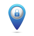 Map pointer with close lock icon vector image vector image