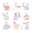 men taking selfie with smartphones isolated icons vector image