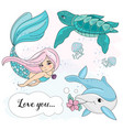 mermaid love school autumn sea underwater vector image vector image