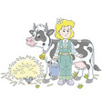 milkmaid and cow vector image vector image