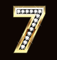 Number seven bling gold and diamonds vector image vector image