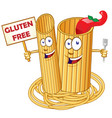 pasta food cute cartoon character with signboard vector image vector image
