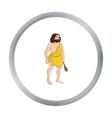 Primitive man with truncheon icon in cartoon style vector image vector image