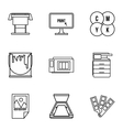 Printing icons set outline style vector image vector image