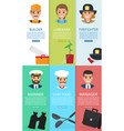 professions theme and auxiliary elements six cards vector image vector image
