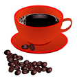 Red cup of coffee with beans on white background vector image vector image