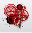 red gear wheels of clockwork with black blots vector image vector image