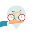 rental bicycle icon or rent a bike place pin vector image vector image