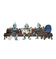 robots are resting on a park bench vector image