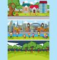 set different horizontal scenes background vector image