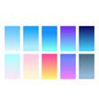 set gradient backgrounds sky color palette vector image