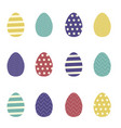 set of colorful easter eggs with ornaments vector image vector image