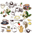 set of hand drawn elements cups teapots and other vector image