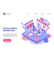social media marketing landing page vector image