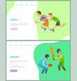 sportsmen training rugand cricket web vector image vector image