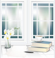 tea cup and books on table beside window vector image