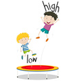 Two boys jumping on trampoline low and high vector image vector image
