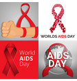 world aids day banner set cartoon style vector image vector image