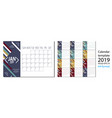 2019 new year calendar in clean minimal vector image