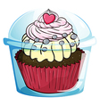A cupcake inside the disposable cup with a cover vector image vector image
