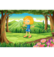 A forest with a child playing vector image vector image