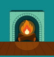 a lighted fireplace on the background of cozy