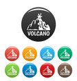 active volcano icons set color vector image vector image