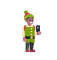 african american man elf santa claus helper hold vector image