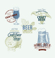 beer logo template set hand drawn vector image
