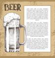big beer sketch mug with foam on old backdrop vector image vector image