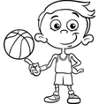 boy basketball player coloring page vector image vector image