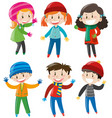 boys and girls in winter outfit vector image vector image