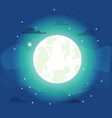 bright moon with small stars vector image vector image