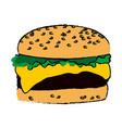 burger fast food cheese lettuce bread delicious vector image