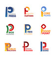 business icons and symbols of letter p vector image vector image