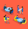 business people set isolated on orange background vector image