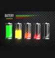 charged and discharged fully battery battery vector image vector image