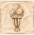 cocktail glass of ice cream vintage hand vector image vector image