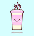 coffee cup cute kawaii smiling and friendly vector image vector image